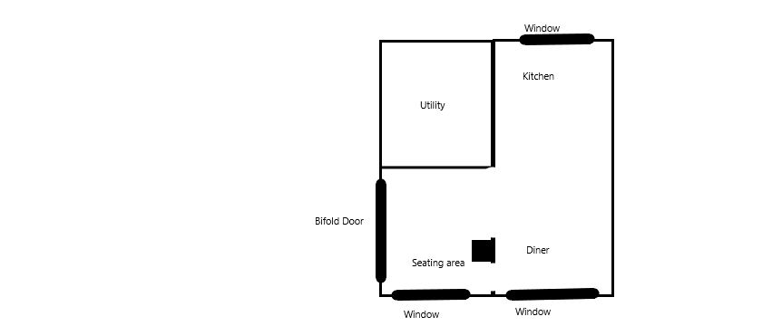 New floorplan showing combined kitchen diner and family area