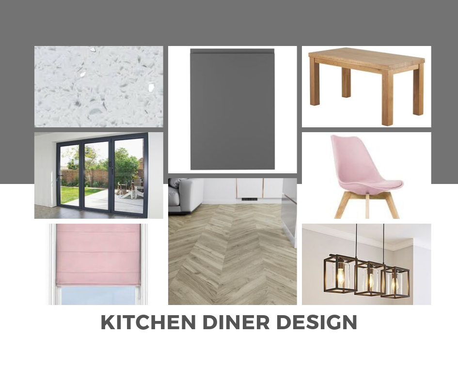 Moodboard showing ideas for grey kitchen cabinets with white worktops and soft pink details as an accent colour.