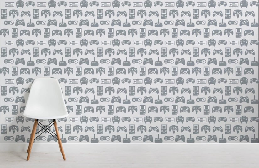 Wallpaper featuring pattern of games consoles