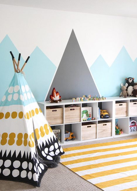A simple painted mountain mural