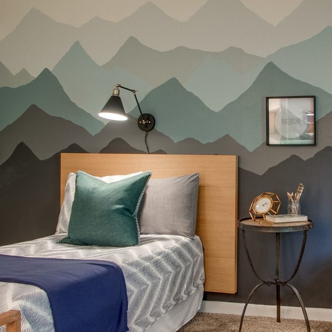 cute bedroom ideas - a more grown up mountain mural for older kids