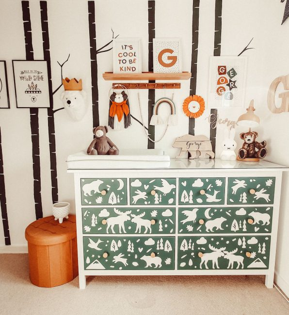 Cute bedroom ideas - a scandi decor themed bedroom featuring a chest of drawers personalised with woodland animal decals.