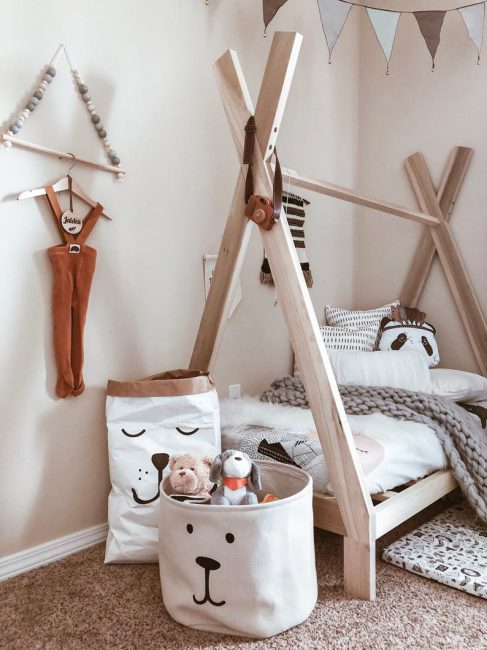 Cute bedroom ideas - how to pull the woodland theme all together with simple scandi furniture and soft throws and accessories.