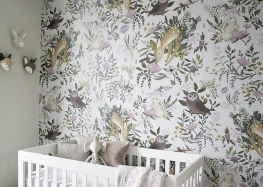 Beautiful nursery with woodland animals wallpaper