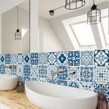 Blue tile stickers in a bathroom
