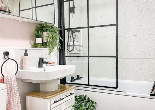 Bathroom with crittall style shower screen.